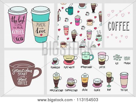 Coffee Quote Lettering Set Background