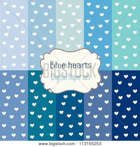 10 Digital Papers blue hearts Mixed Patterns Patterned Backgrounds, digital paper set