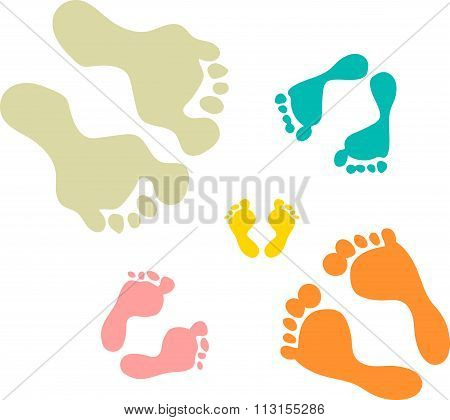 Cute and colorful family footprints white background