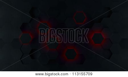 Dark Red Glowing Hexagon Background