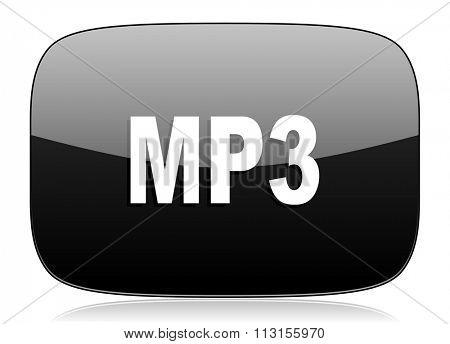 mp3 black glossy web modern icon