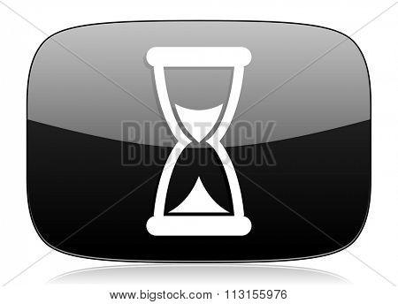 time black glossy web modern icon