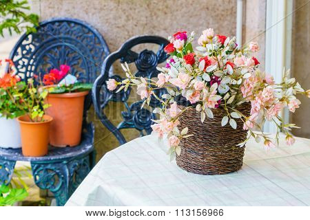 Decoration artificial flower on table