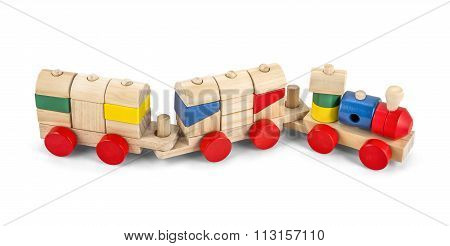Wooden Toy Train With Colorful Blocs Isolated Over White With Clipping Path