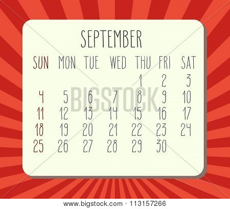 September 2016 Monthly Calendar
