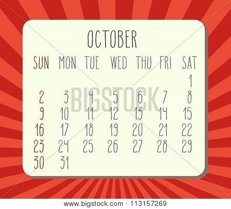 October 2016 Monthly Calendar