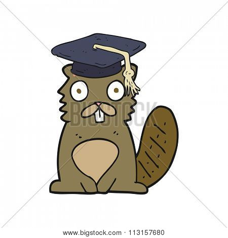 freehand drawn cartoon beaver graduate