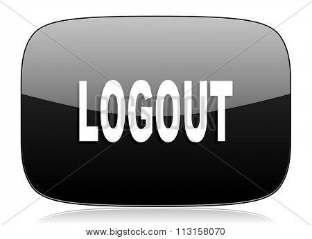 logout black glossy web modern icon
