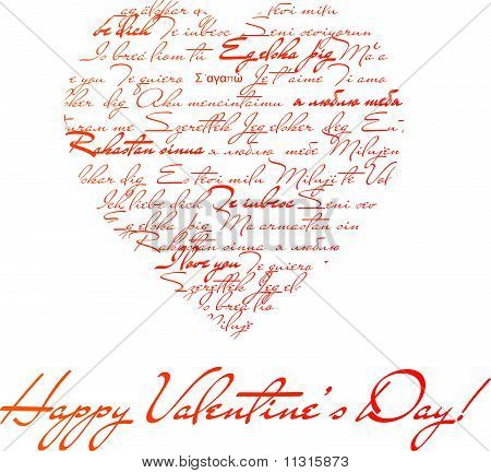 """Heart shape made of the phrases """"I love you"""" in different languages"""