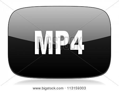 mp4 black glossy web modern icon