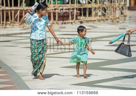 Barefoot at Shwedagon Pagoda