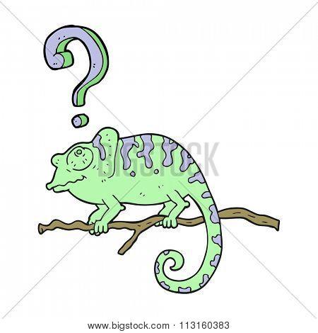 freehand drawn cartoon curious chameleon