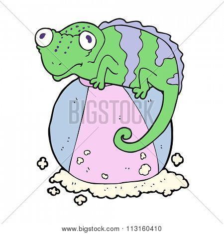 freehand drawn cartoon chameleon on ball