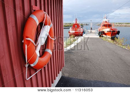 Life Buoy Against Saving Yachts