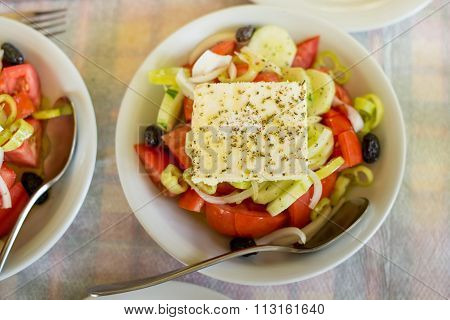 Greek Salad On The Table In The Greek Restaurant