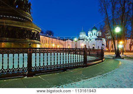 St.sophia Cathedral And The Monument Millennium Of Russia In Veliky Novgorod, Russia - Night City La