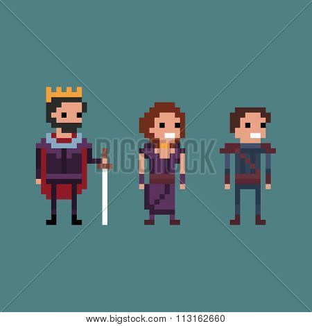 Pixel art vector illustration retro 8 bit fantasy kingdom, king, queen, prince
