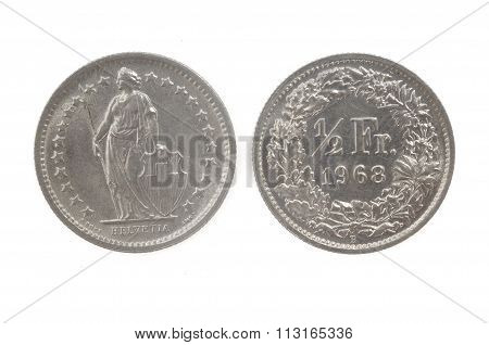 Half Swiss Francs Coin Isolated On White 1968