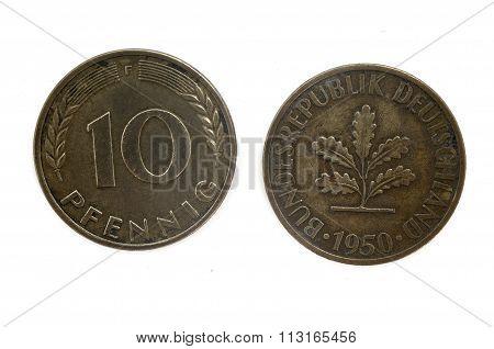 Old Coin Dated 1950, Ten Pfennig, German Coin
