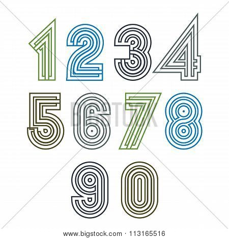 Retro Geometric Striped Numeration. Vector Poster Bright Stylish Numbers Isolated On White