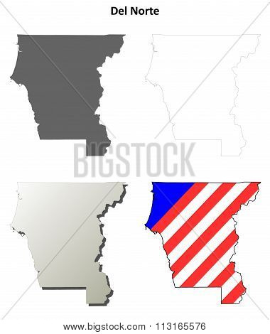 Del Norte County, California outline map set