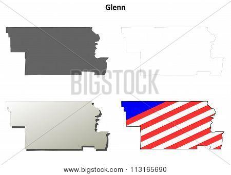 Glenn County, California outline map set