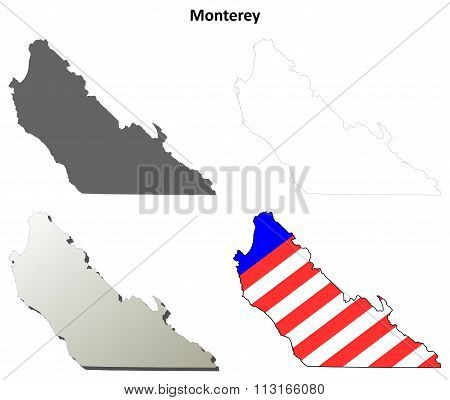 Monterey County, California outline map set