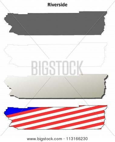 Riverside County, California outline map set