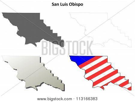 San Luis Obispo County, California outline map set