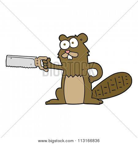 freehand drawn cartoon beaver with saw