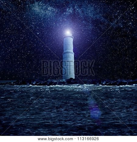 Stars over lighthouse