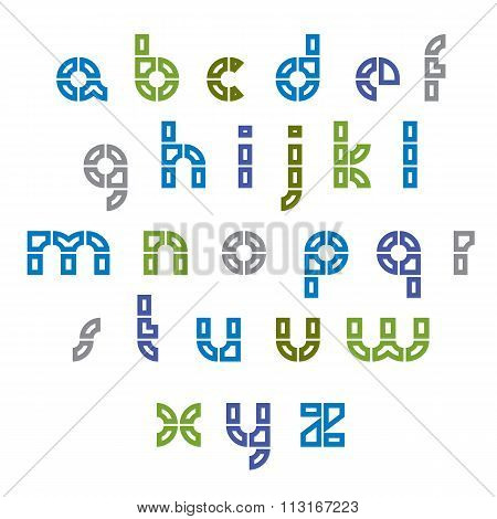 Round Light Technical Lowercase Letters Set, Industrial Characters Made With Parts. Vector