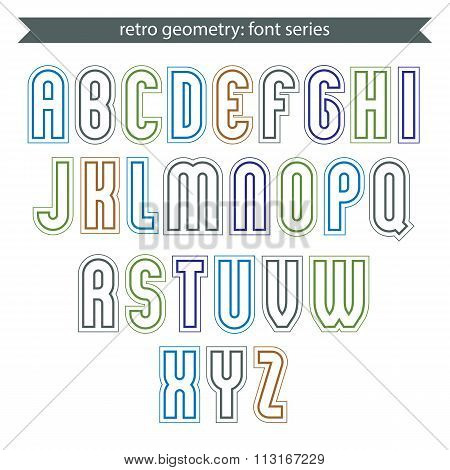 Poster Light Elegant Font With Outline. Contemporary Vector Colorful Calligraphic Letters Isolated