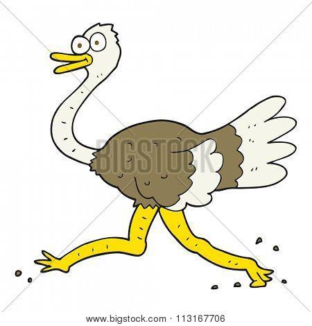 freehand drawn cartoon ostrich