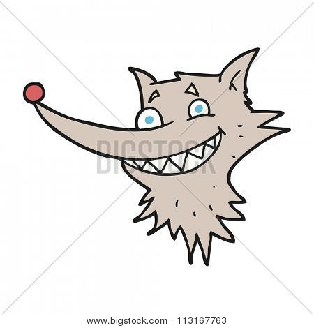 freehand drawn cartoon grinning wolf face