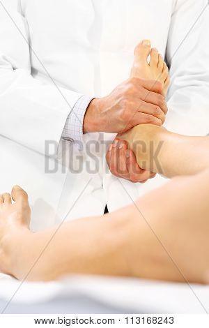 Rehabilitation. The doctor orthopedist