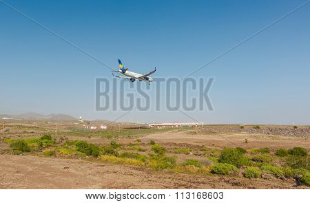 Tenerife, Spain - January 4, 2015: A Condor Airplane Arriving To The Tenerife Airport. Condor Is Ger