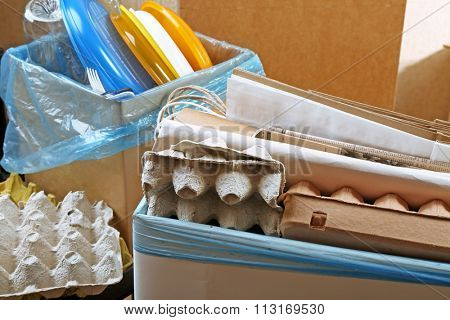 Pile of different waste, close-up. Waste sorting concept.