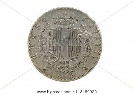 5 Liras 1872, Victorio Emanuele Ii,italian Currency,