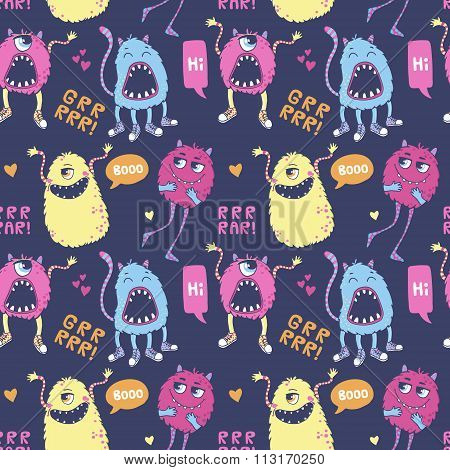 Pattern with cute monsters.