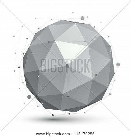 3D Vector Abstract Tech Orb Illustration, Perspective Geometric Spherical Object With Wireframe.