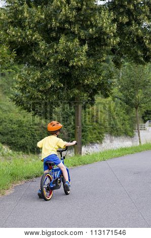 Child Cycling On A Path