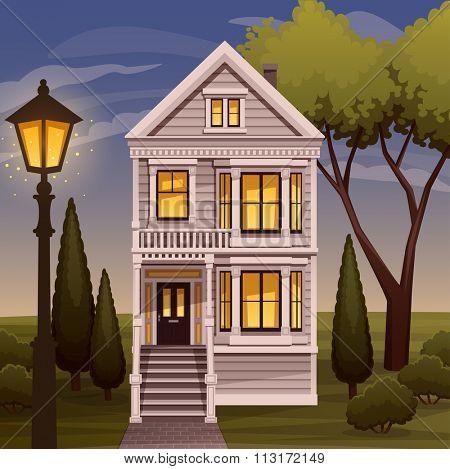 Cozy family house facade view. Vector illustration