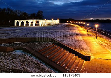 Yaroslav's Courtyard In Veliky Novgorod, Russia - Night Landscape In Winter