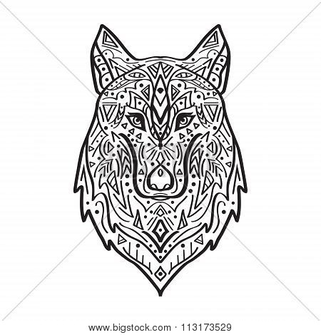 Vector Black And White Illustration Of Tribal Style Wolf With Ethnic Ornaments.