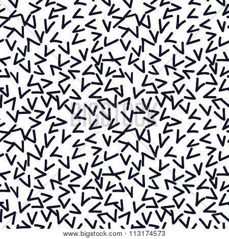 Hand drawn seamless indigo and white random checkmark texture