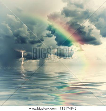 Vintage Rainbow Over Ocean