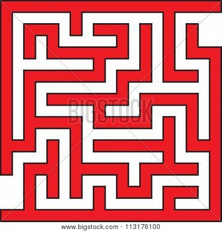Simple Square Vector Maze Illustration