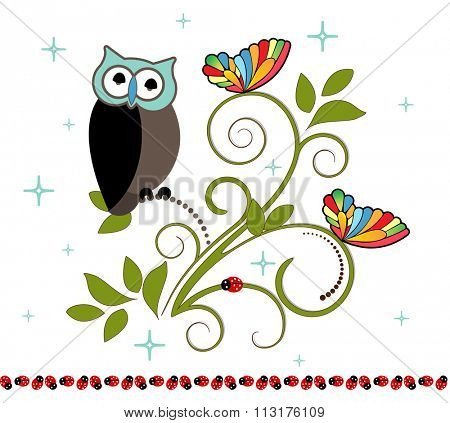 Owl sitting on a perch ladybugs and butterflies