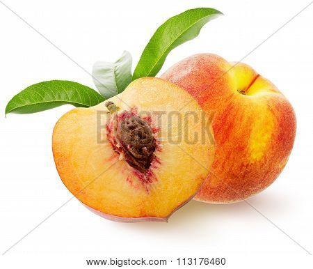 Tasty Peaches Isolated On The White Background
